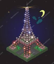 French Flag Eiffel Tower Eiffel Tower Illuminated In The Color Of The Flag France U2014 Stock