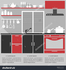 Kitchen Template Design Flat Infographic Template For A Kitchen Interior Design With Save