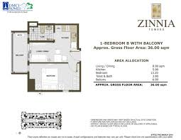 36 sqm zinnia towers u2013 1 bedroom with balcony b u2013 south tower u2013 dmci