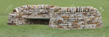 Bench Built Into Wall A Double Sided Bench Built Into A Dry Stone Wall Stock Photo