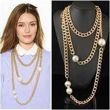 big fashion pearl necklace images Cirgen fashion long multi layer chunky gold color aluminum chain jpg