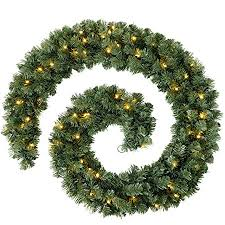 werchristmas pre lit thick pine garland decoration