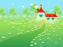 wallpaper cute house blissful spring scene with cute house and flowers 1 wallcoo net