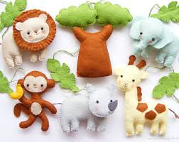 felt safari animals etsy
