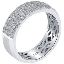 Mens White Gold Wedding Rings by 1 17 Carat Natural Diamond Mens Pave Wedding Band Ring 14k White