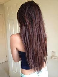hairstyles with layered in back and longer on sides straight choppy textured chocolate brown long hairstyle for