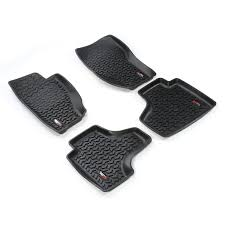 2003 jeep liberty floor mats amazon com rugged ridge all terrain 12987 28 black front and rear