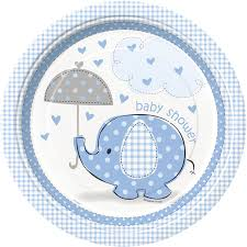 elephant baby shower invitations amazon com blue elephant boy baby shower dinner plates 8ct
