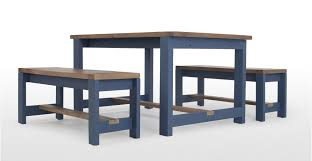 Dining Table And 2 Benches Dining Table And Bench Set Solid Wood And Blue Bala Made Com