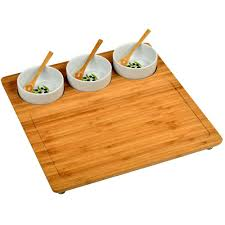 personalized serving platter ceramic bamboo serving platter with 3 ceramic bowls cb23 the home depot