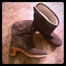 ugg shoes australia brown boots poshmark ugg shoes australia 1958 brown leather shearling boot poshmark