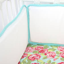 funky rose pink aqua crib bumper by caden lane rosenberryrooms com