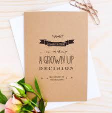 Invitation Engagement Card Congratulations U2026grown Up Decision U0027 Engagement Card By Paper Craze