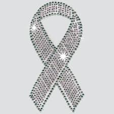bling ribbon rhinestone breast cancer ribbon iron on or decal potty