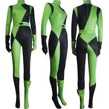 body suit halloween costumes women kim possible shego costume jumpsuit super villain halloween