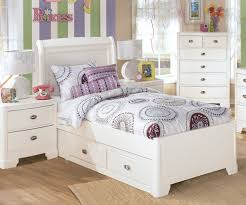 How To Set A Bed White Wooden Bed Frame With Headboard And Drawers Completed By