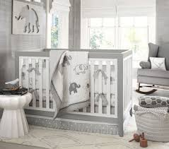 Grey And White Nursery Curtains Elephant Bedding Set And Grey Wall Color Using White Window Shade