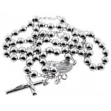 sterling silver rosary necklace images Sterling silver rosary beads mens cross necklace 7 mm 24 28 inch jpg