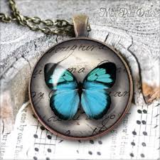 blue glass pendant necklace images Vintage round necklace blue butterfly cabochon bronze pendant jpg