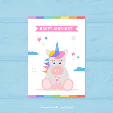 cute unicorn birthday card vector free download