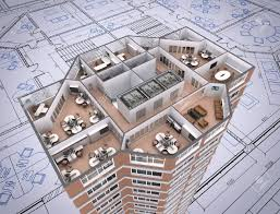 3d cut of office building on architect u0027s drawing stock photo