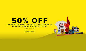 50 clearance on toys apparel housewares trading cards and
