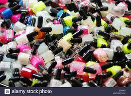 make up artist set many lipstick and nail polish cosmetic stock