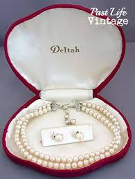 vintage necklace box images Mid century deltah pearl necklace earrings set original velvet box jpg
