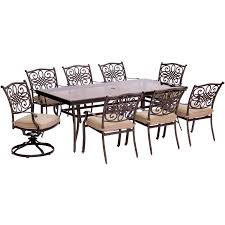 traditions 9 piece dining set in tan with extra large glass top