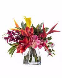 Home Decor Silk Flower Arrangements Faux Orchids Heliconia Tropical Flower Arrangement Silk Flowers
