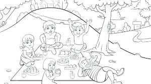 kids picnic basket picnic drawing for kids summer picnic coloring page for kids