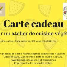 cadeau cours de cuisine carte cadeau atelier de cuisine le drive des 4 saisons