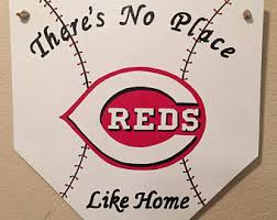 cincinnati reds home decor baseball door hanger cincinnati reds home plate sign