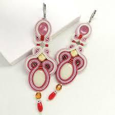 Long Chandelier Earrings Dangle Earrings Pink Soutache Earrings Pink Chandelier From Beadsnsoutache On