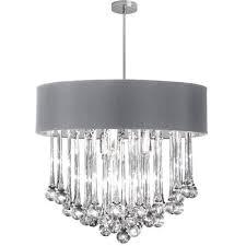 Glass Droplet Chandelier 8 Light Polished Chrome Chandelier With Glass Droplets In Silver Shade