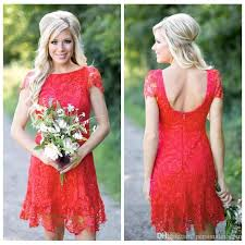 beautiful full lace red new cheap 2017 country short bridesmaid