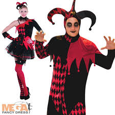jester halloween costumes mens ladies medieval adults fancy dress