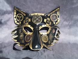 wolf masquerade mask wolf mask gold with steunk elements by jedi with wings on