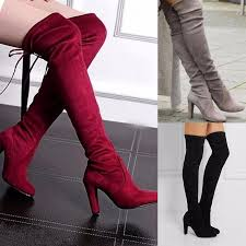womens boots heels boots knee high heel thigh winter autumn slip on