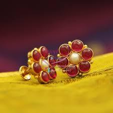 kempu earrings e1011 gold plated back kempu temple stones pearl earrings