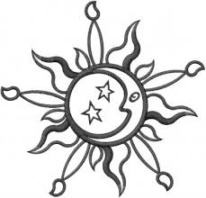 sun moon outline embroidery design from machine embroidery