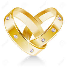 betrothal ring two wedding rings shaped heart royalty free cliparts vectors and