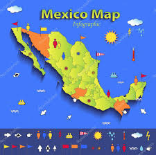 Political Map Of Mexico Mexico Map Infographic Political Map Individual States Blue Green