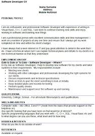 resume format for fresher software developer professional