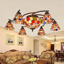 Yellow Glass Ceiling Light Color 8 Light Painting Downlight Stained Glass Ceiling Lights
