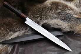 japanese carbon steel kitchen knives yoshihiro damascus suminagashi white steel yanagi ebony handle