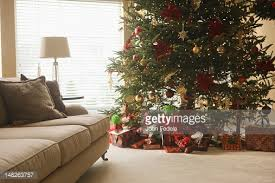 Christmas Livingroom by Modern Loft Living Room With Potted Blue Spruce Christmas Tree
