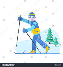 people skiing flat vector style design stock vector 777708580