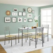 metal kitchen furniture vecelo dining table set glass table and 4 chairs metal kitchen