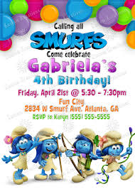 smurfs baby shower invitations smurfs birthday invitations kustom kreations